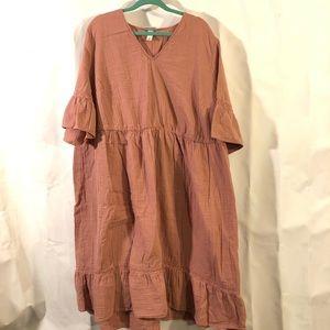 Rosy Peasant Dress